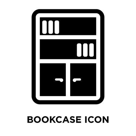 Bookcase icon vector isolated on white background, logo concept of Bookcase sign on transparent background, filled black symbol