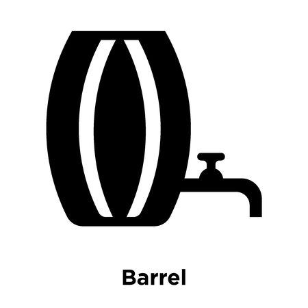 Barrel icon vector isolated on white background, logo concept of Barrel sign on transparent background, filled black symbol Stock Illustratie