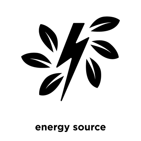 Green energy source icon vector isolated on white background, logo concept of Green energy source sign on transparent background, filled black symbol
