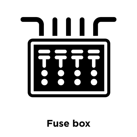 Fuse box icon vector isolated on white background, logo concept of Fuse box sign on transparent background, filled black symbol Logo