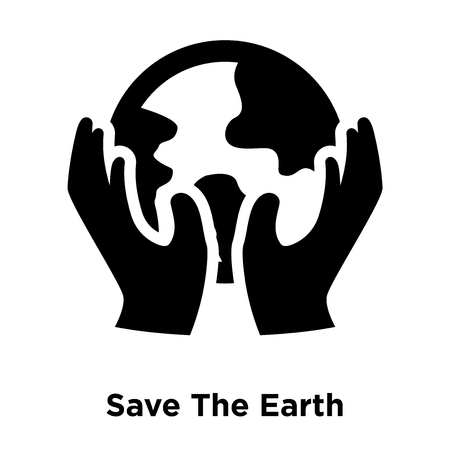 Save The Earth icon vector isolated on white background, logo concept of Save The Earth sign on transparent background, filled black symbol Logo