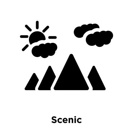 Szenischer Symbolvektor lokalisiert auf weißem Hintergrund, Logo-Konzept des szenischen Zeichens auf transparentem Hintergrund, gefülltes schwarzes Symbol