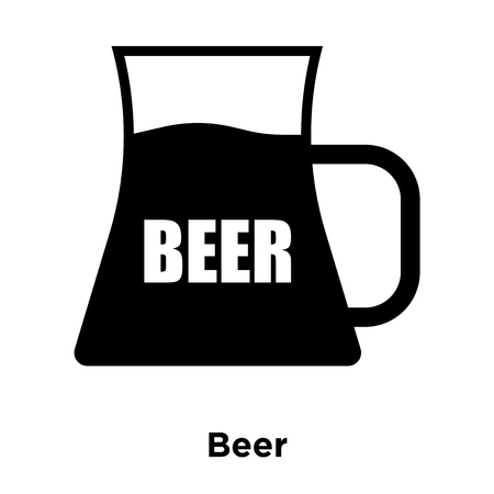 Beer icon vector isolated on white background, logo concept of Beer sign on transparent background, filled black symbol Illustration