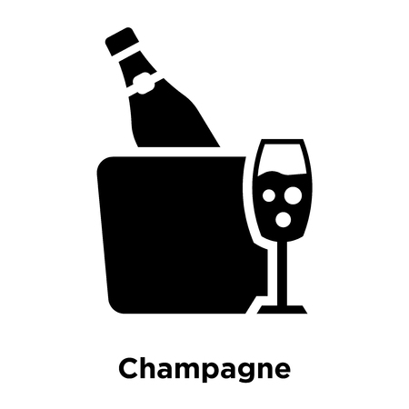 Champagne icon vector isolated on white background, logo concept of Champagne sign on transparent background, filled black symbol