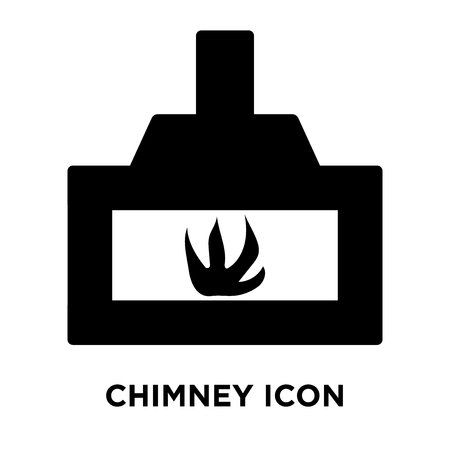Chimney icon vector isolated on white background, logo concept of Chimney sign on transparent background, filled black symbol