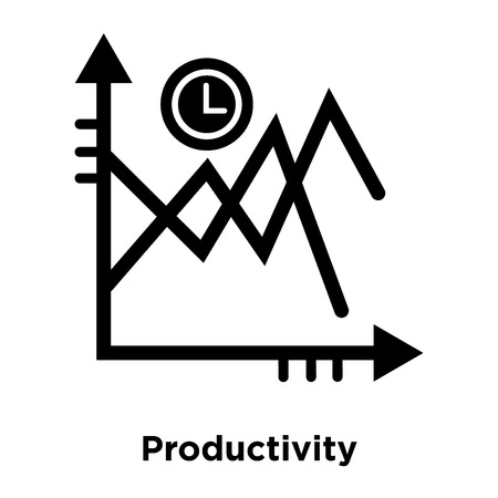 Productivity icon vector isolated on white background, logo concept of Productivity sign on transparent background, filled black symbol Illustration