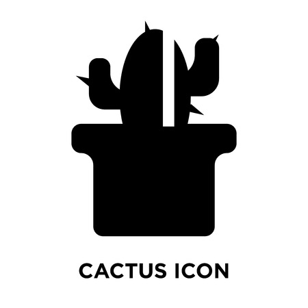 Cactus icon vector isolated on white background, logo concept of Cactus sign on transparent background, filled black symbol