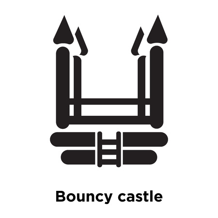 Bouncy castle icon vector isolated on white background, logo concept of Bouncy castle sign on transparent background, filled black symbol