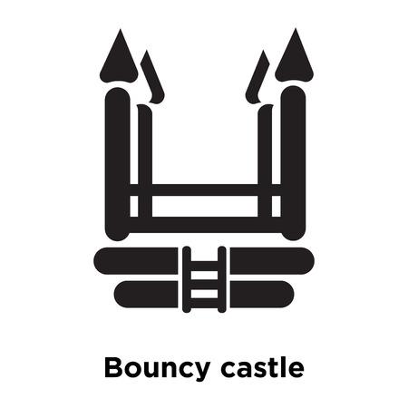 Vector de icono de castillo hinchable aislado sobre fondo blanco, concepto de logo de castillo hinchable firmar sobre fondo transparente, símbolo negro relleno Logos