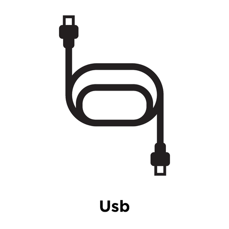Usb icon vector isolated on white background, logo concept of Usb sign on transparent background, filled black symbol Ilustração