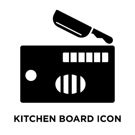 Kitchen board icon vector isolated on white background, logo concept of Kitchen board sign on transparent background, filled black symbol