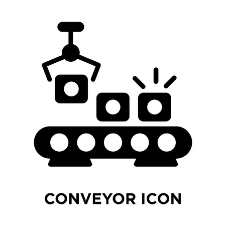 Conveyor icon vector isolated on white background, logo concept of Conveyor sign on transparent background, filled black symbol Vectores
