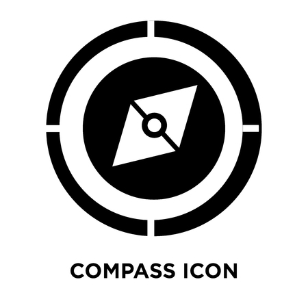 Compass icon vector isolated on white background, logo concept of Compass sign on transparent background, filled black symbol