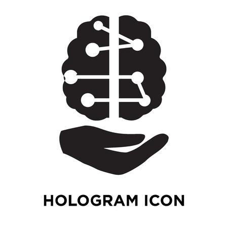 Hologram icon vector isolated on white background, logo concept of Hologram sign on transparent background, filled black symbol