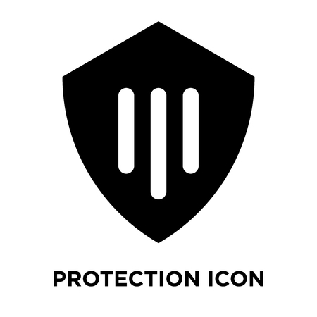 Protection icon vector isolated on white background, logo concept of Protection sign on transparent background, filled black symbol