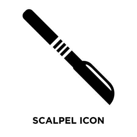Scalpel icon vector isolated on white background, logo concept of Scalpel sign on transparent background, filled black symbol