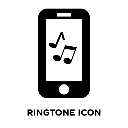 Ringtone icon vector isolated on white background, logo concept of Ringtone sign on transparent background, filled black symbol