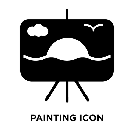 Painting icon vector isolated on white background, logo concept of Painting sign on transparent background, filled black symbol