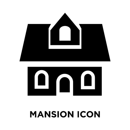 Mansion icon vector isolated on white background, logo concept of Mansion sign on transparent background, filled black symbol
