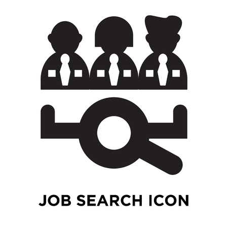Job search icon vector isolated on white background, logo concept of Job search sign on transparent background, filled black symbol