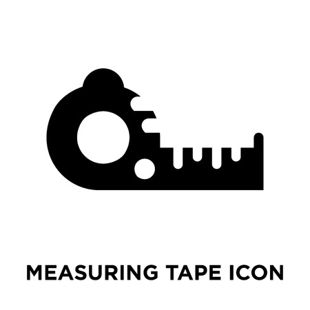 Measuring tape icon vector isolated on white background, logo concept of Measuring tape sign on transparent background, filled black symbol