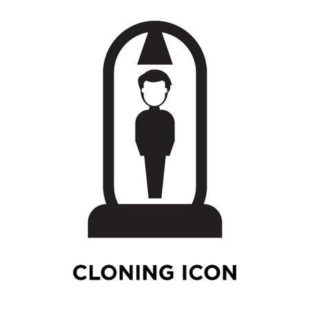 Vector icono de clonación aislado sobre fondo blanco, logo conceptode signo de clonación sobre fondo transparente, símbolo negro relleno Logos