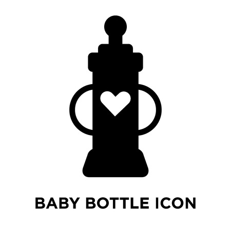 Baby bottle icon vector isolated on white background, logo concept of Baby bottle sign on transparent background, filled black symbol