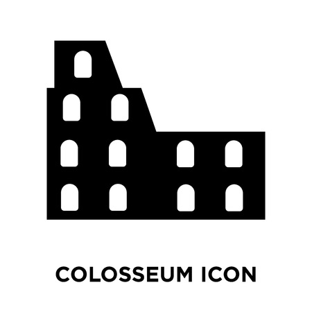 Colosseum icon vector isolated on white background, logo concept of Colosseum sign on transparent background, filled black symbol Stock Vector - 107868221