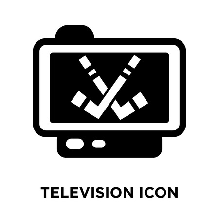 Television icon vector isolated on white background, logo concept of Television sign on transparent background, filled black symbol