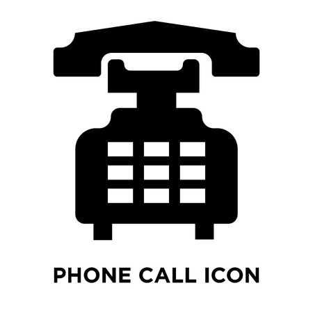 Phone call icon vector isolated on white background, logo concept of Phone call sign on transparent background, filled black symbol Illusztráció