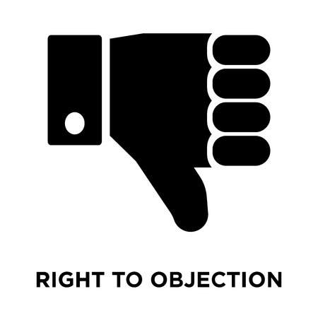 Right to objection icon vector isolated on white background, logo concept of Right to objection sign on transparent background, filled black symbol