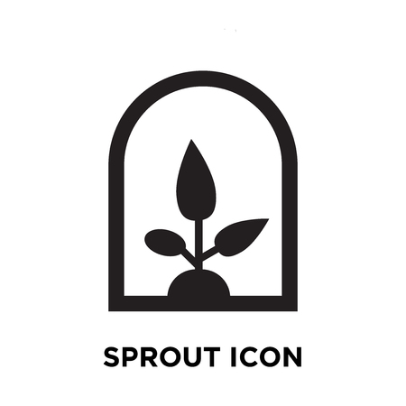 Sprout icon vector isolated on white background, logo concept of Sprout sign on transparent background, filled black symbol Illustration