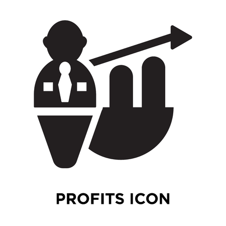 Vecteur d'icône de bénéfices isolé sur fond blanc, notion de logo de bénéfices signe sur fond transparent, rempli de symbole en noir