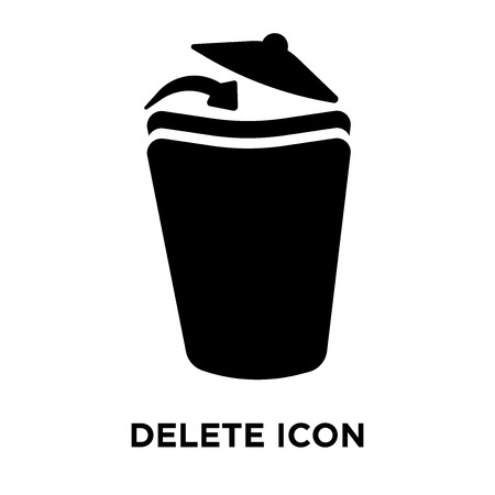 Delete icon vector isolated on white background, logo concept of Delete sign on transparent background, filled black symbol