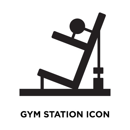Gym station icon vector isolated on white background, logo concept of Gym station sign on transparent background, filled black symbol