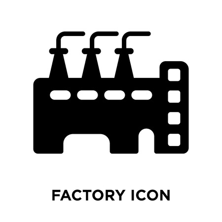 Factory icon vector isolated on white background, logo concept of Factory sign on transparent background, filled black symbol