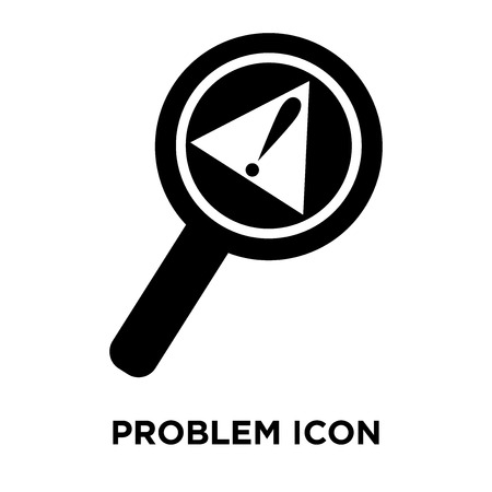 Problem icon vector isolated on white background, logo concept of Problem sign on transparent background, filled black symbol