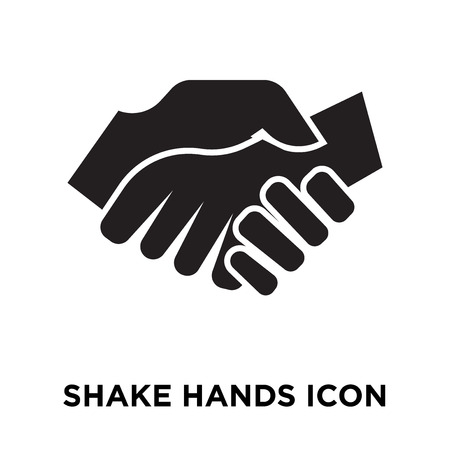 Shake Hands icon vector isolated on white background, logo concept of Shake Hands sign on transparent background, filled black symbol