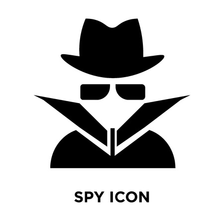 Spy icon vector isolated on white background, logo concept of Spy sign on transparent background, filled black symbol Illustration