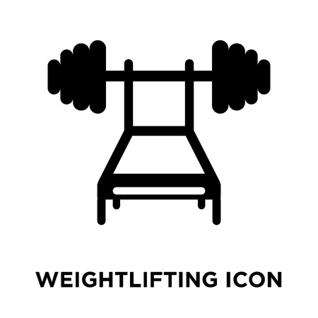 Weightlifting icon vector isolated on white background, logo concept of Weightlifting sign on transparent background, filled black symbol