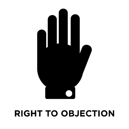 Right to objection icon vector isolated on white background, logo concept of Right to objection sign on transparent background, filled black symbol Archivio Fotografico - 108801878