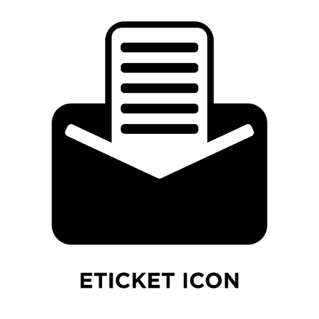 eTicket icon vector isolated on white background, logo concept of eTicket sign on transparent background, filled black symbol