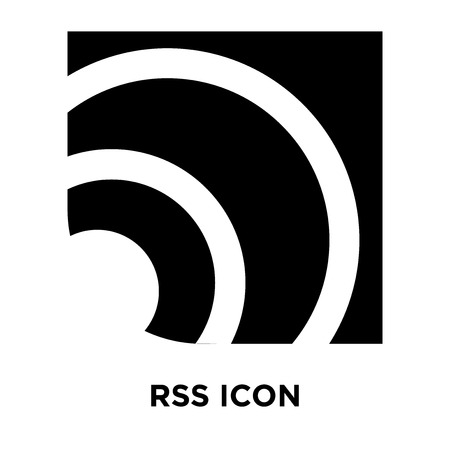 RSS icon vector isolated on white background, logo concept of RSS sign on transparent background, filled black symbol
