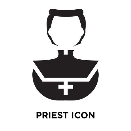 Priesterikonenvektor lokalisiert auf weißem Hintergrund, Logo-Konzept des Priesterzeichens auf transparentem Hintergrund, gefülltes schwarzes Symbol