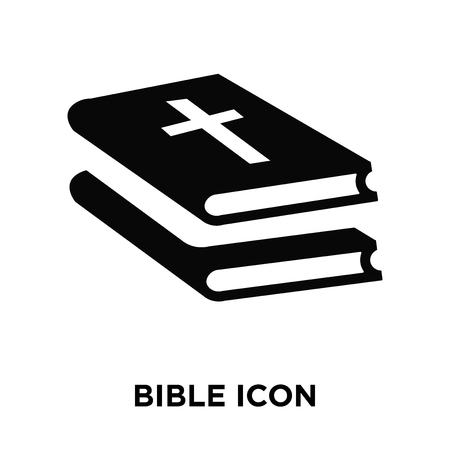 Bible icon vector isolated on white background, logo concept of Bible sign on transparent background, filled black symbol
