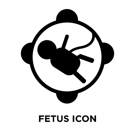 Fetus icon vector isolated on white background, logo concept of Fetus sign on transparent background, filled black symbol Illustration