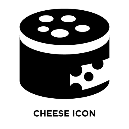Cheese icon vector isolated on white background, logo concept of Cheese sign on transparent background, filled black symbol