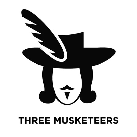 Three musketeers icon vector isolated on white background, logo concept of Three musketeers sign on transparent background, filled black symbol