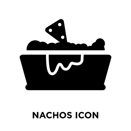 Nachos icon vector isolated on white background, logo concept of Nachos sign on transparent background, filled black symbol