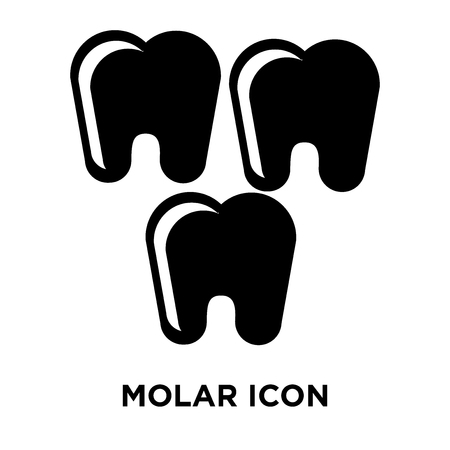 Molar icon vector isolated on white background, logo concept of Molar sign on transparent background, filled black symbol